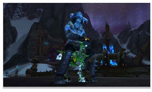Frost Vrykul on a Swift Green Mechanostrider